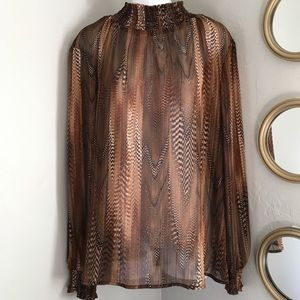 Susan Graver Abstract Smocked Blouse